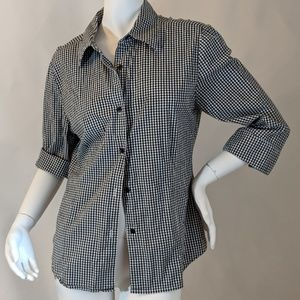 Real Comfort Tops - Black and White checkered Button Down Shirt